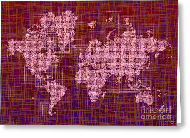 World Map Rettangoli In Pink Red And Purple Greeting Card by Eleven Corners