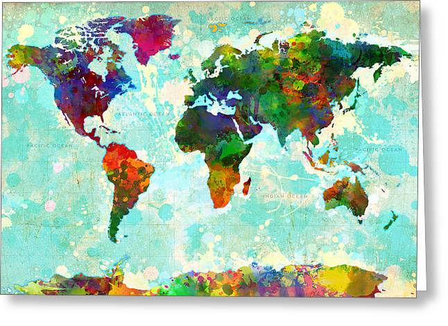 World Map Splatter Design Greeting Card by Gary Grayson