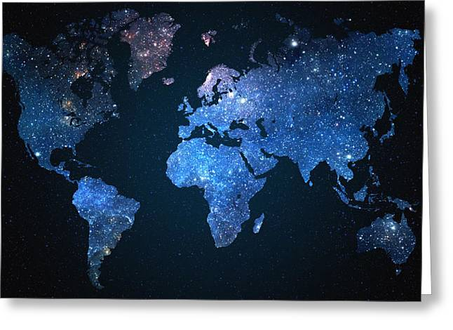 World Map Stars Greeting Card by Taylan Apukovska