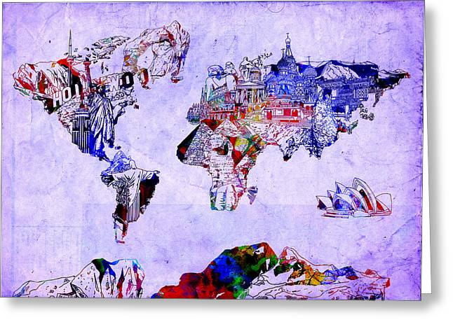 World Map Watercolor 2 Greeting Card by Bekim Art
