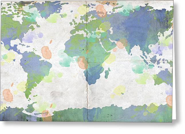 World Map Watercolor 4 Greeting Card by Paulette B Wright