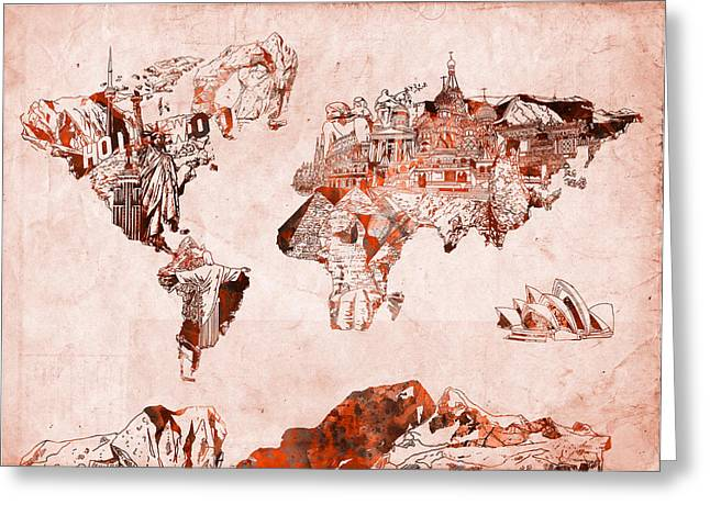 World Map Watercolor Greeting Card by Bekim Art