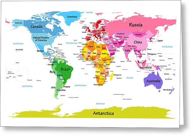 World Map With Big Text  Greeting Card by Michael Tompsett