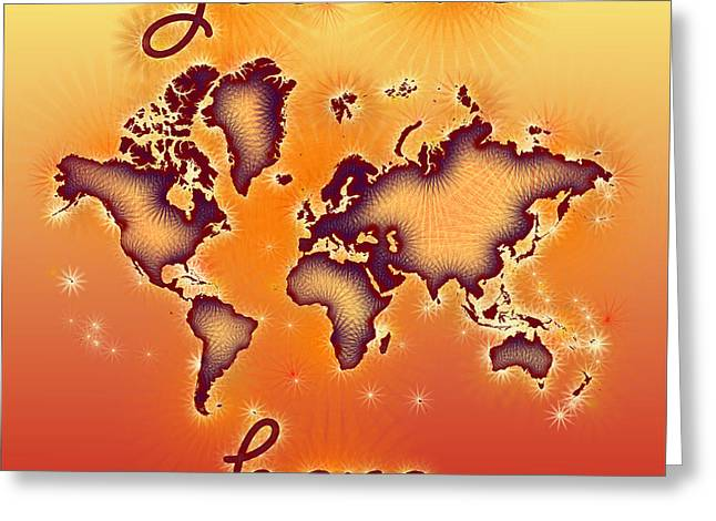 World Map You Are Here Amuza In Red Yellow And Orange Greeting Card by Eleven Corners