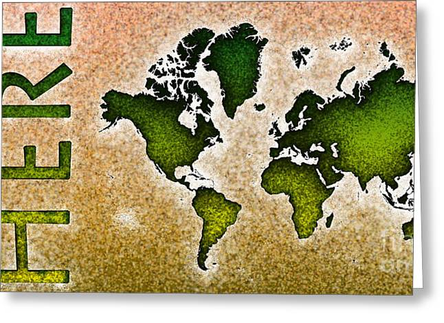 World Map You Are Here Novo In Green And Orange Greeting Card by Eleven Corners