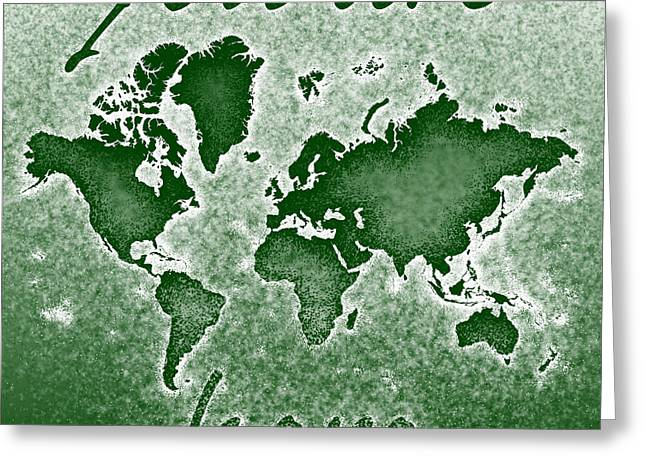World Map You Are Here Novo In Green Greeting Card