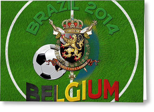 World Of Soccer 2014 - Belgium Greeting Card by Serge Averbukh