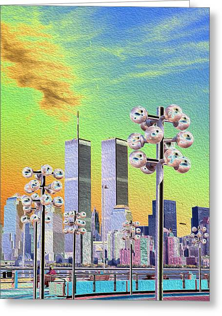 World Trade Center From Nj Terminal Greeting Card