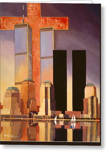Greeting Card featuring the painting World Trade Center Memorial by Art James West