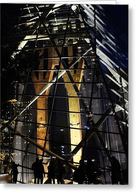 Greeting Card featuring the photograph World Trade Center Museum At Night by Lilliana Mendez