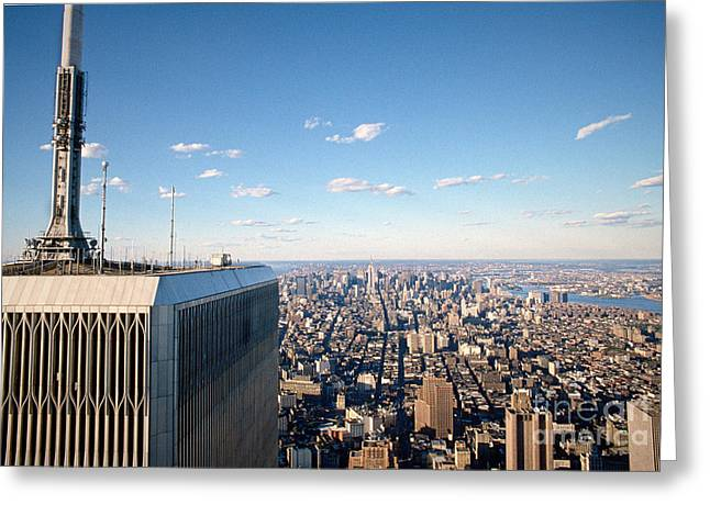World Trade Center Rooftop Greeting Card by Chuck Spang