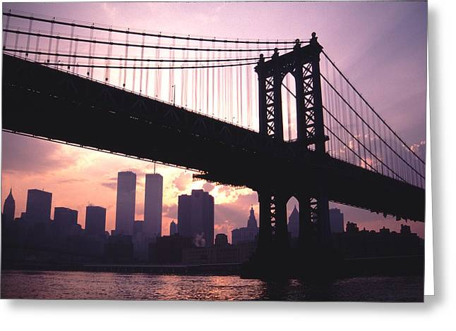 World Trade Towers Manhattan Bridge At Sunset Nyc Greeting Card by Tom Wurl