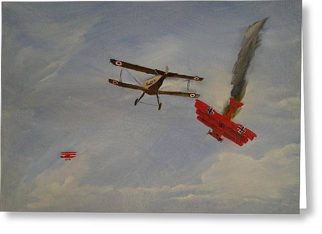 World War I Dogfight 3 Planes In Battle Greeting Card by Carl S Kralich