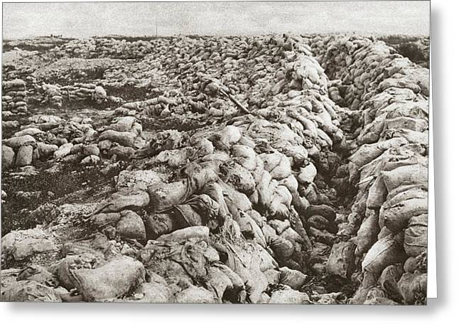World War I Sand Bags Greeting Card by Granger