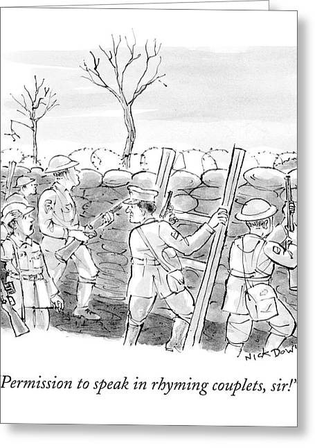 World War I Soldiers Fire From Behind Trenches Greeting Card