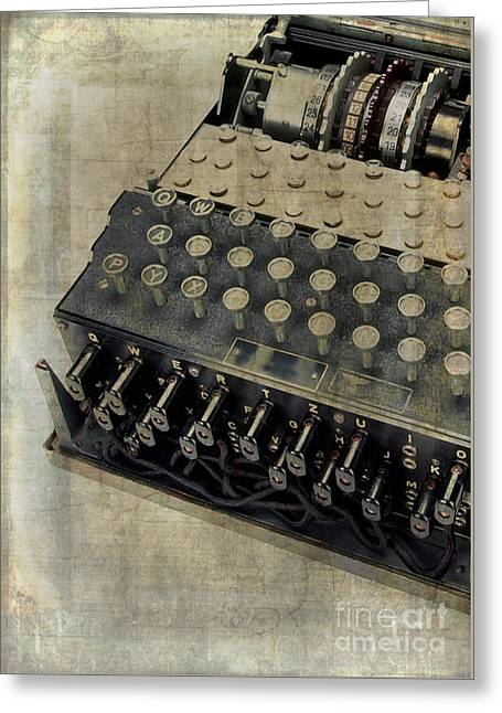 Greeting Card featuring the photograph World War II Enigma Secret Code Machine by Edward Fielding
