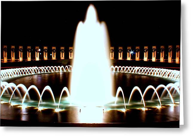 World War II Memorial And Fountain At Night Greeting Card