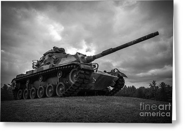 World War II Tank Black And White Greeting Card