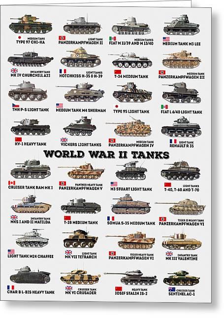 World War II Tanks Greeting Card by Taylan Apukovska