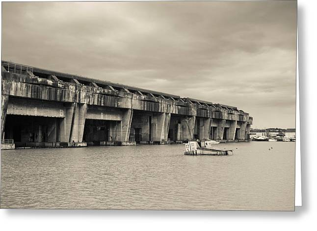 World War Two-era Nazi Submarine Base Greeting Card by Panoramic Images