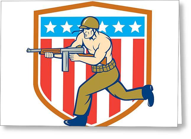 World War Two Soldier American Tommy Gun Shield Greeting Card by Aloysius Patrimonio