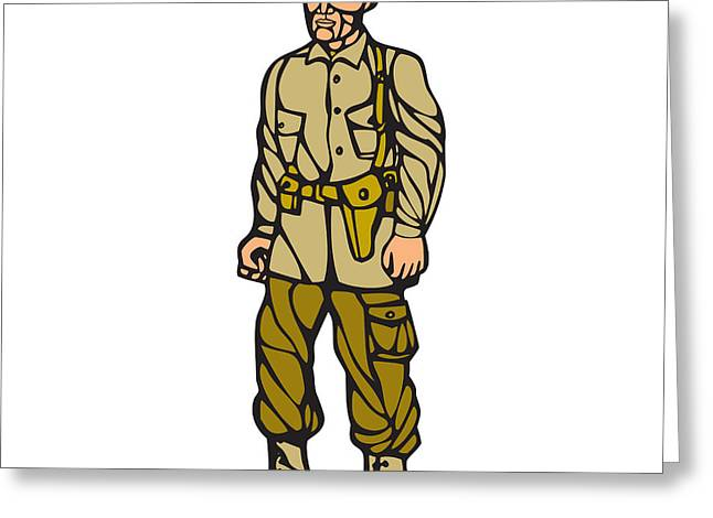 World War Two Soldier Standing Linocut Greeting Card by Aloysius Patrimonio