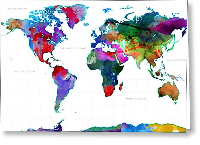 World Watercolor Map #3 Greeting Card