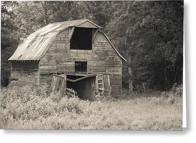 Worn Down Barn - Sepia Greeting Card