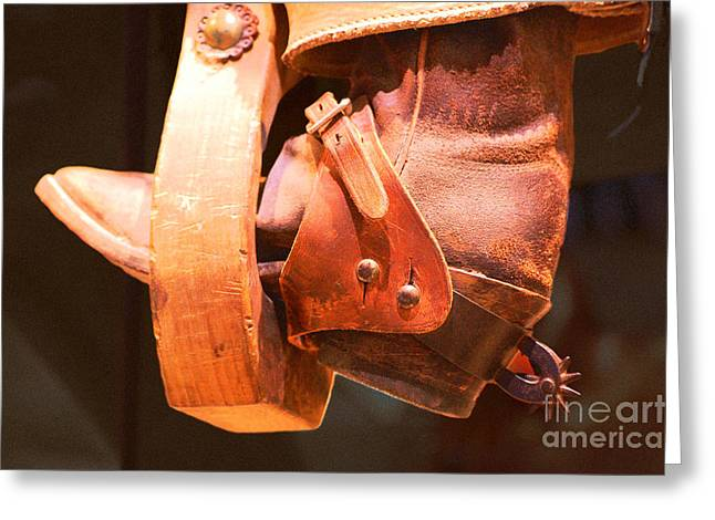 Worn Western Leather Boot With Spur In Stirrup Film Grain Digital Art Greeting Card