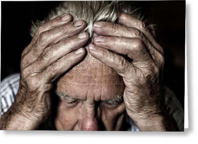 Worried Elderly Man Greeting Card
