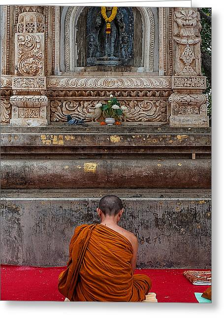 Worshiping Budha Greeting Card by Mukesh Srivastava