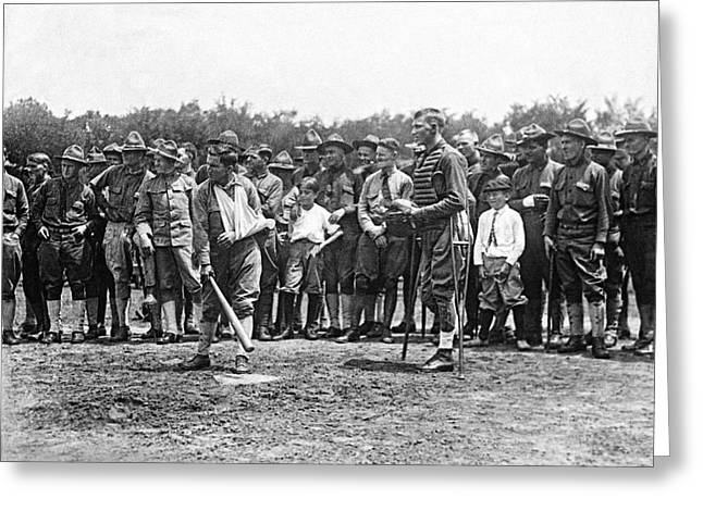 Wounded Soldiers Play Ball Greeting Card by Underwood Archives