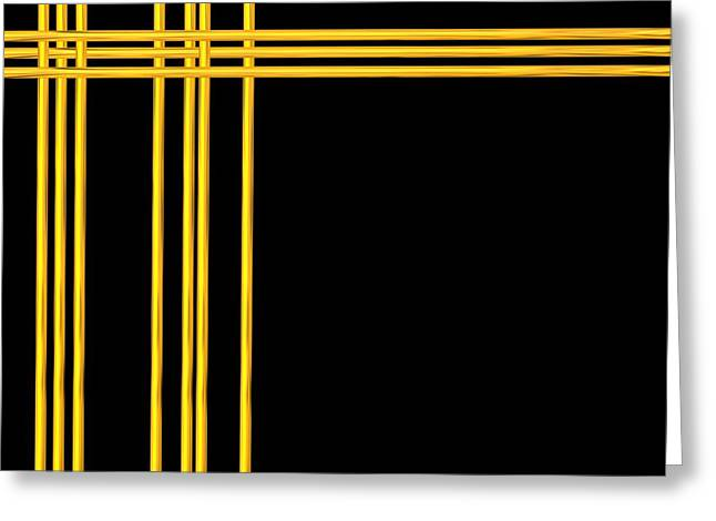 Woven 3d Look Golden Bars Abstract Greeting Card by Rose Santuci-Sofranko