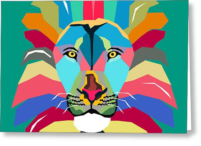 Wpap Lion Greeting Card by Mark Ashkenazi