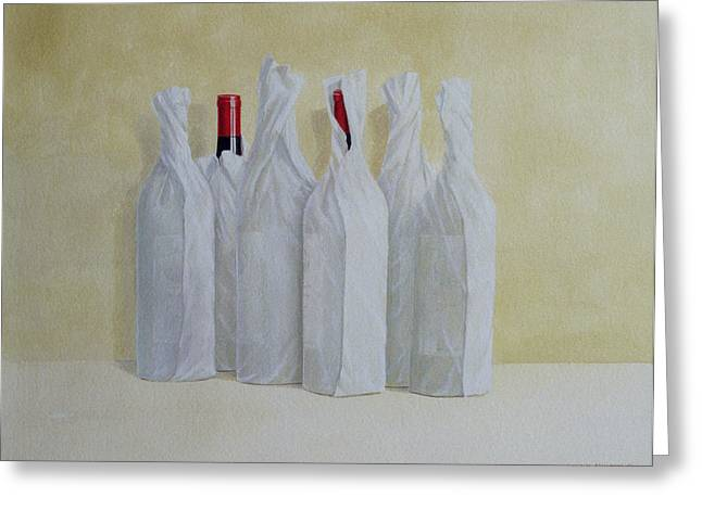 Wrapped Bottles Number 2 Greeting Card by Lincoln Seligman