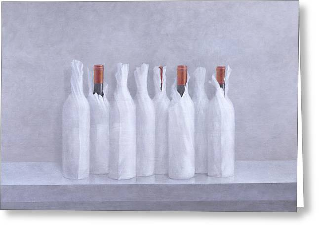 Wrapped Bottles On Grey 2005 Greeting Card by Lincoln Seligman