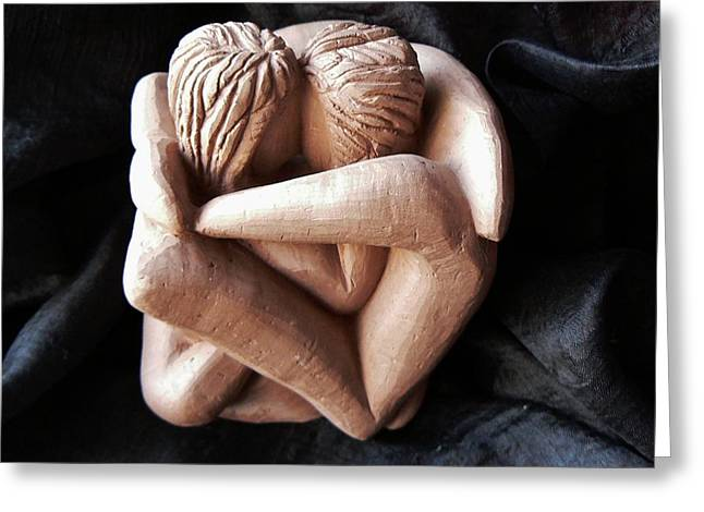 Greeting Card featuring the sculpture Wrapped Up In Each Other by Barbara St Jean