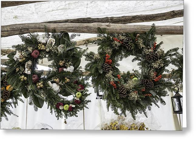 Wreaths For Sale Colonial Williamsburg Greeting Card by Teresa Mucha