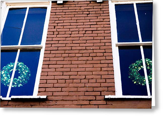 Wreaths In A Window Greeting Card by Audreen Gieger-Hawkins