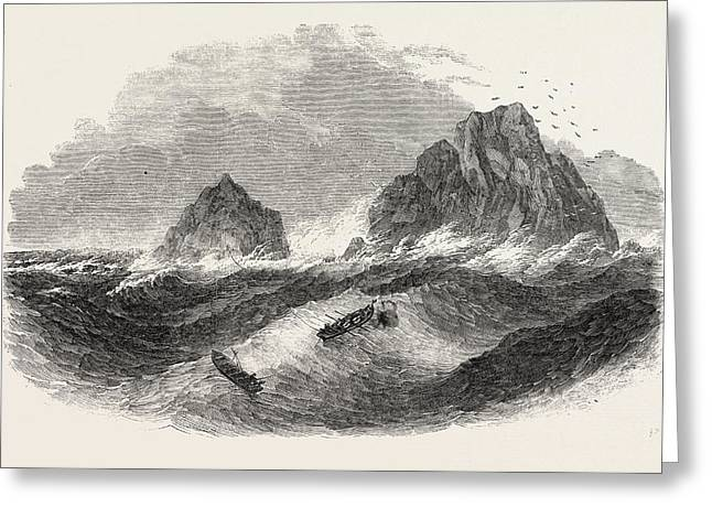 Wreck Of The New Commercial Brig, On The Brisson Rocks Greeting Card by English School