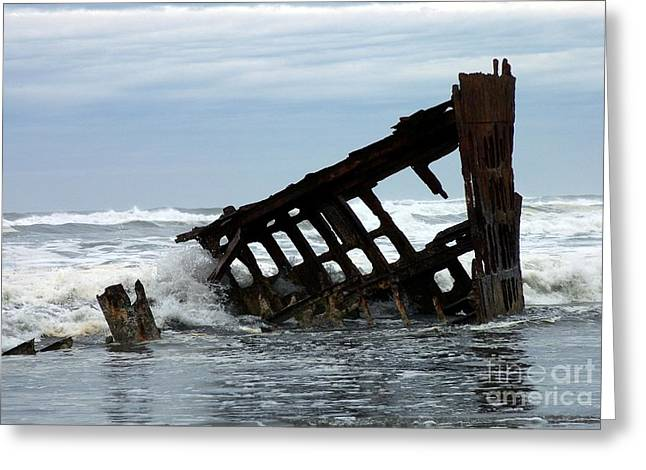 Greeting Card featuring the photograph Wreck Of The Peter Iredale by Chalet Roome-Rigdon
