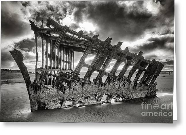 Wreck On The Shore Greeting Card by Melody Watson