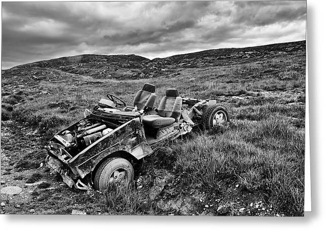 Wrecked Car On Mountain Greeting Card