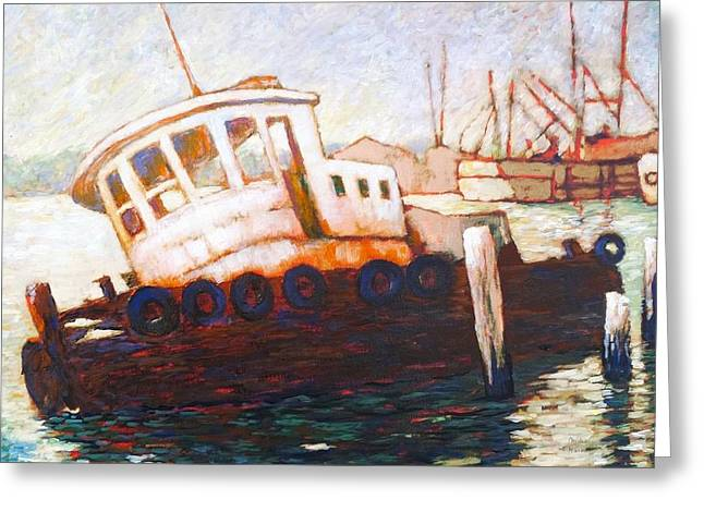 Greeting Card featuring the painting Wrecked Tug by Charles Munn
