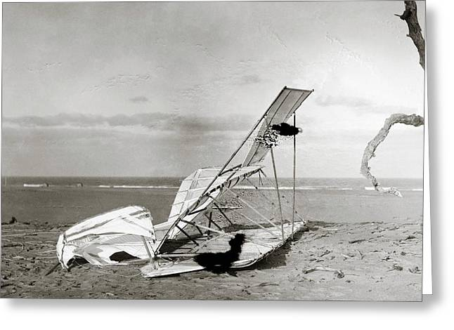 Wrecked Wright Brothers Glider Greeting Card by Library Of Congress