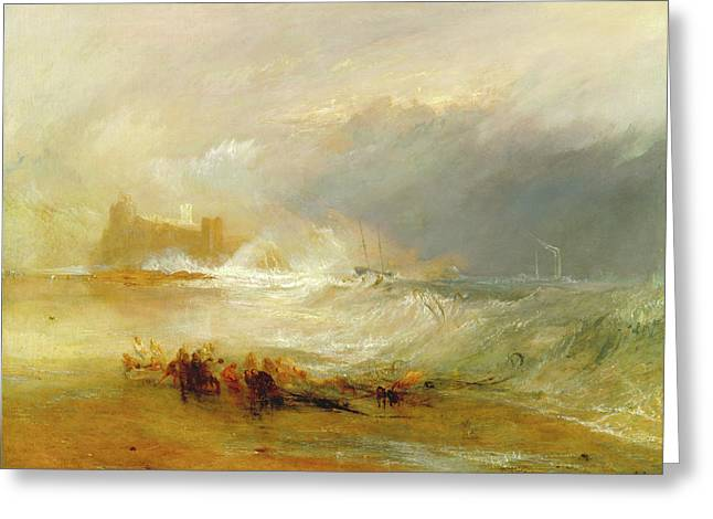 Wreckers -- Coast Of Northumberland, With A Steam-boat Greeting Card by Litz Collection
