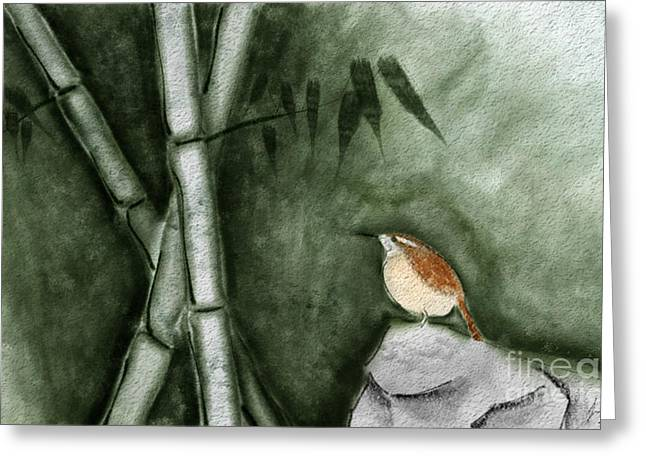 Wren In Bamboo Greeting Card