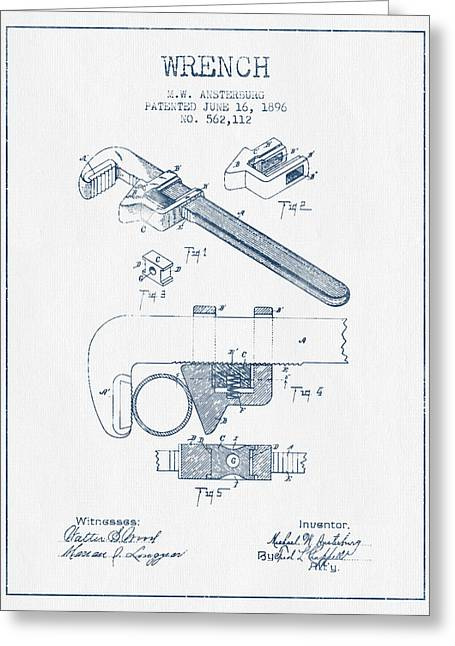 Wrench Patent Drawing From 1896- Blue Ink Greeting Card by Aged Pixel