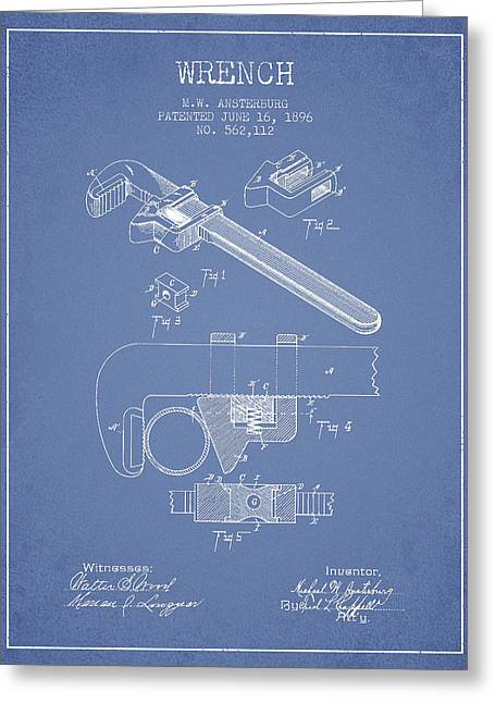 Wrench Patent Drawing From 1896 - Light Blue Greeting Card by Aged Pixel