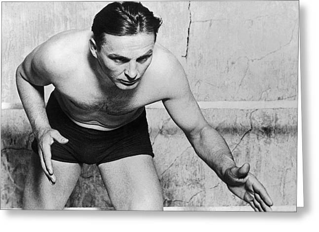 Wrestling Champion Joe Stecher Greeting Card by Underwood Archives